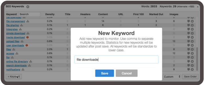 Create a list of target keywords for your page and add them to the plugin individually or in bulk via cvs